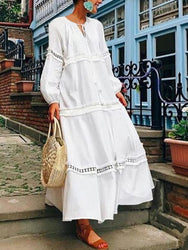 Women Long Sleeve Hollow Patchwork Loose Casual Swing Long Maxi Dress