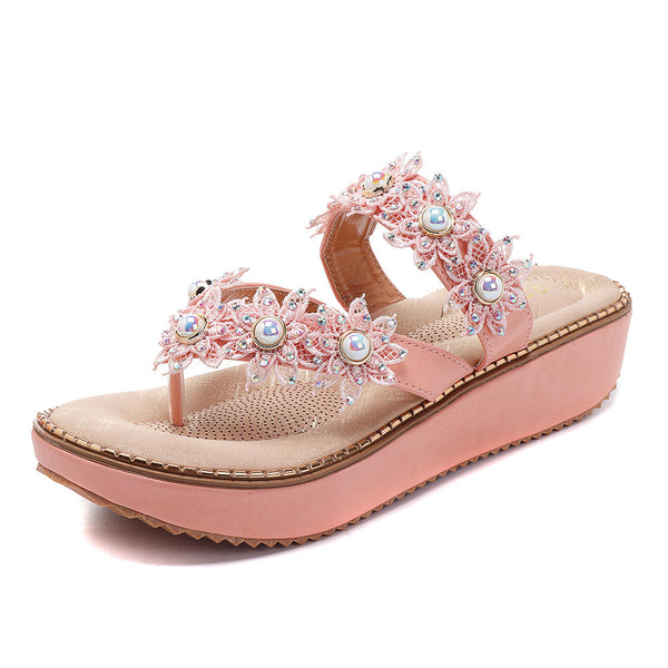 US Szie 5-11 Retro Rhinestone Flowers Soft Slippers Women Summer Shoes