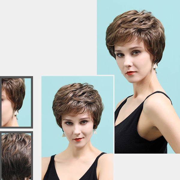 Real Human Hair Brown Mixed Color Textured Short Wig Comfortable And Natural