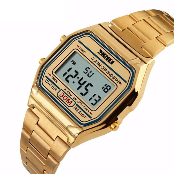 SKMEI 1123 Rectangle Digital Stainless Steel Band Fashion Luxury Men Women Unisex Wrist Watch