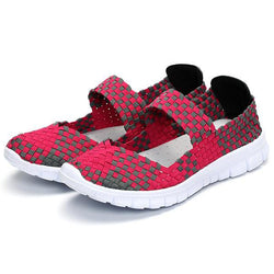 Women Casual Light Knitting Sport Health Breathable Flat Shoes - EY Shopping