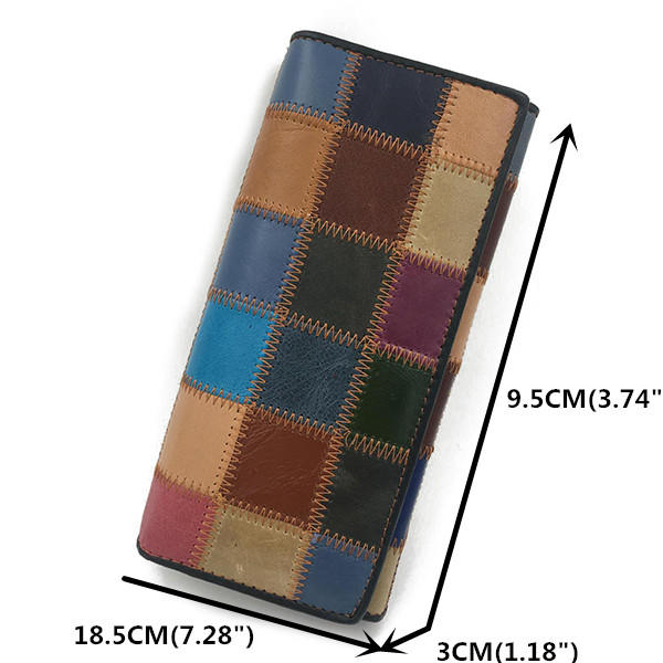 Women Genuine Leather 8 Card Slot Wallet Large Capacity Patchwork Purse Phone Bag