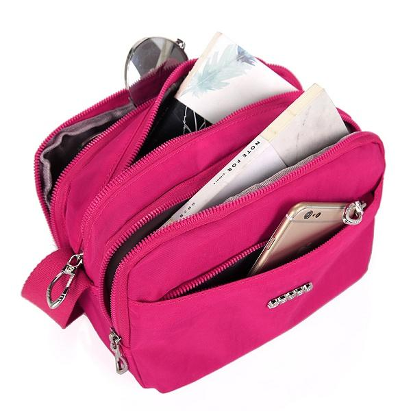 Women Nylon Waterproof Multi Layer Large Capacity Casual  Shoulder Bag Crossbody Bag