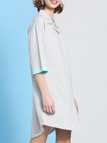 Women Cotton Plain Vertical Stripes Half Sleeve Shirt Nightdress Pajamas With Pocket - EY Shopping