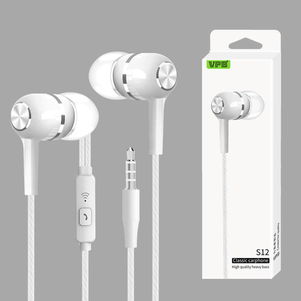 S12 Sport Earphone Wired Super Bass 3.5mm Handsfree Headset Earbuds With Mic for PC MP3 Xiaomi Phones