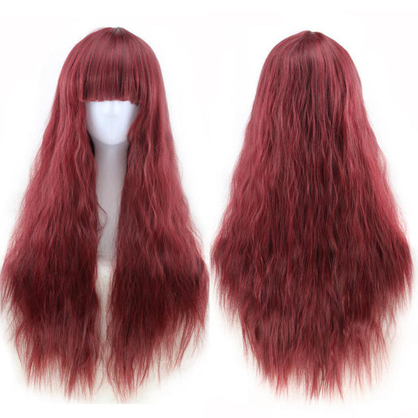 Qi Liuhai Corn Hot Whisk Small Wave Cosplay Wig - Multicolor