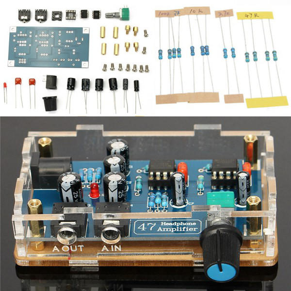 DIY HIFI Headphone Amplifier Single Power Supply PCB AMP Kit With Transparent Housing