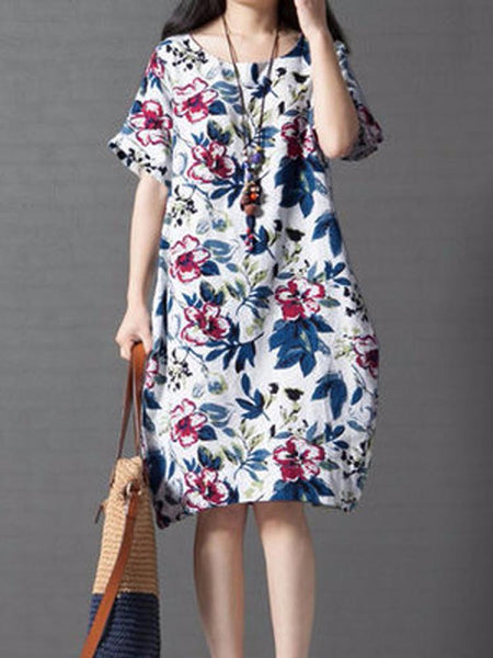 Vintage Women Loose Printing Short Sleeve Elegant Dress - EY Shopping