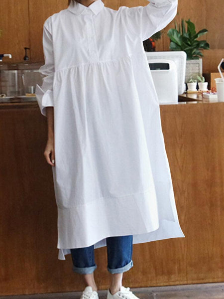 Women Casual Loose Midi Buttons Long Sleeve Collar Shirt Dress - EY Shopping