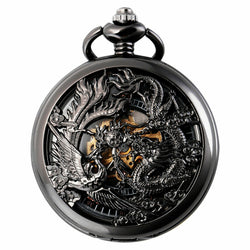Deffrun Phoenix and Dragon Mechanical Pocket Watch Unisex Unique Watches