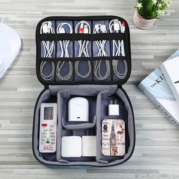 Bakeey Travel Portable Zipper Mobile Phone Memery Card U Disk USB Cable Digital Accessories Organizer Nylon Storage Bag