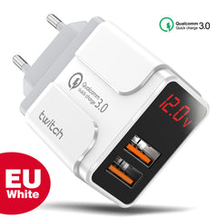 Twitch 18W Dual Port USB Charger QC3.0 Quick Charge Wall Charger Adapter With EU Plug US Plug UK Plug For iPhone 11 SE 2020 For Xiaomi Huawei