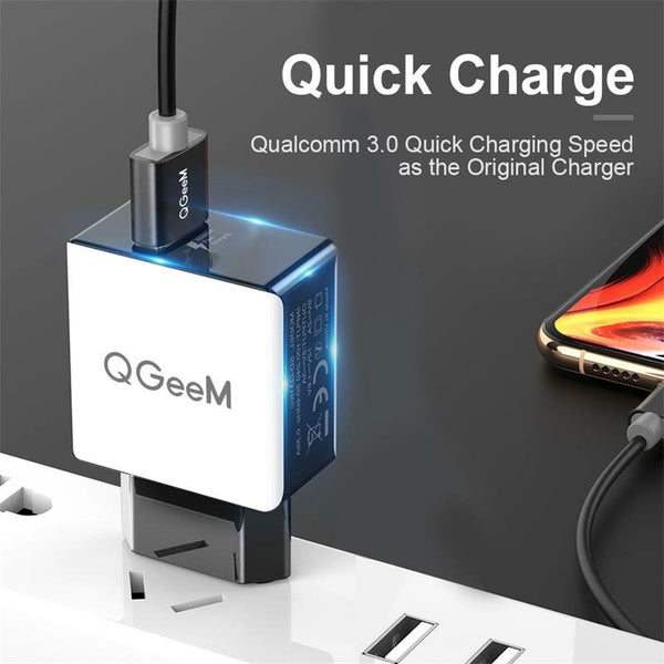 QGEEM QC 3.0 USB Charger Fiber Drawing Wall Charger Adapter Fast Charging For Huawei P30 P40 Pro Xiaomi MI10 Redmi Note 9S S20+ Note 20