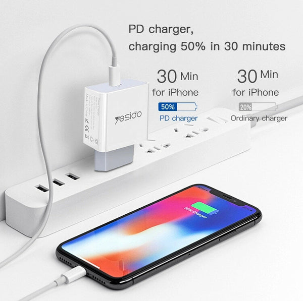 Yesido PD3.0 Fast Charging Type-C 9V 2A Wall Charger Adapter for Samsung Galaxy S20 Ultra Huawei P40 OnePlus 8 Xiaomi ASUS ZenFone Max Pro (M1) ZB602KL