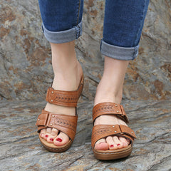 LOSTISY Large Size Casual Comfy Slippers Hook Loop Wedge Sandals