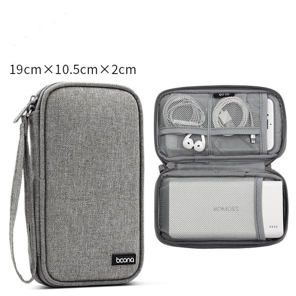 Boona 19cm*10.5cm Single Layer Digital Accessories Storage Bag Travel Bag Power Bank USB Charger Cable Organizer Bag