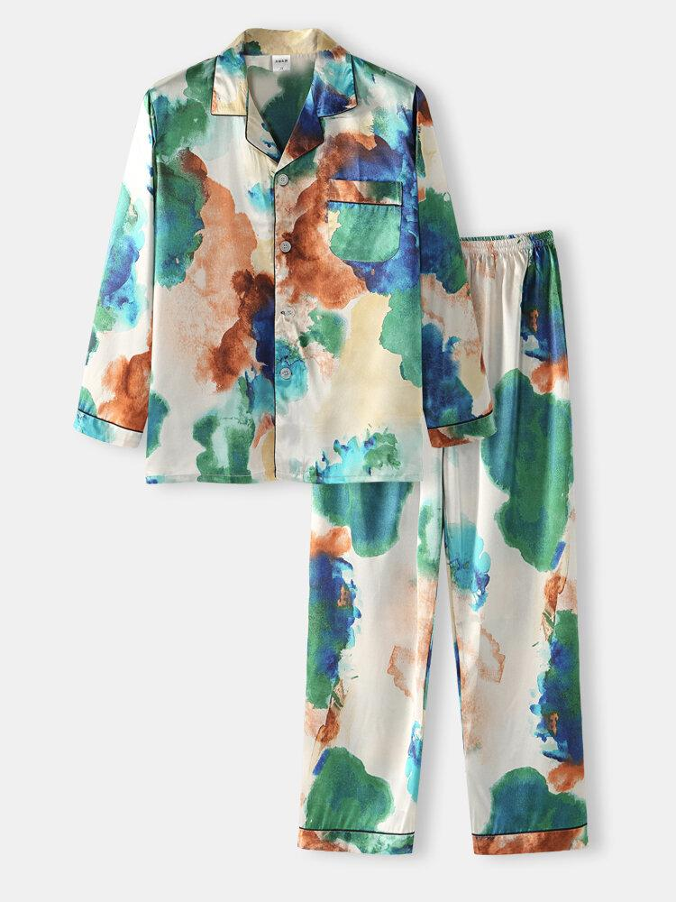 Mens Multi Color Tie-Dye Home Revere Collar Long Sleeve Pajama Set - EY Shopping