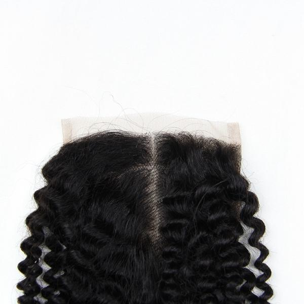 6A 4X4 Kinky Curly Virgin Hair Lace Closure Wave Brazilian Human Hair Closures Free Middle Par