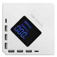 Bakeey 6 USB+2 Type-C Port LCD Display DC 5V 8A EU US Smart USB Charger for Samsung Xiaomi Huawei