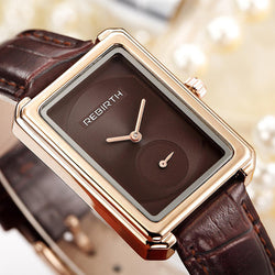 REBIRTH RE203 Square Dial Women Wrist Watch Elegant Design Leather Band Quartz Watches