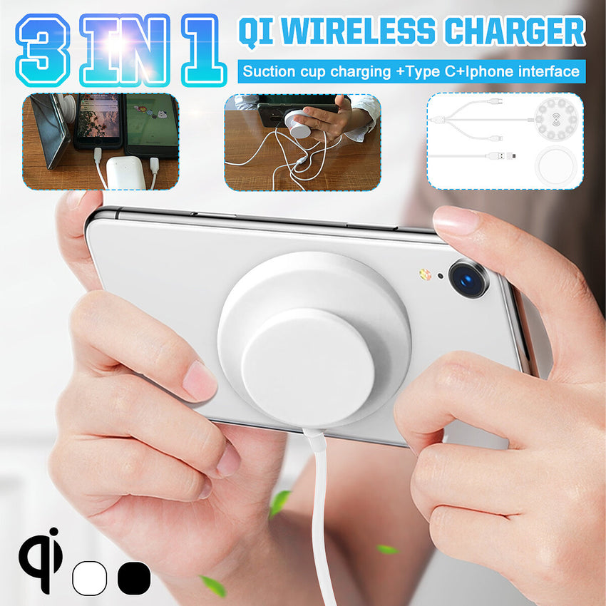 Bakeey 3-in-1 Wireless Charger Qi Phone Suction Cup Type-c Lightning Cable Fast Charging For iPhone XS 11Pro Xiaomi MI10 S20+