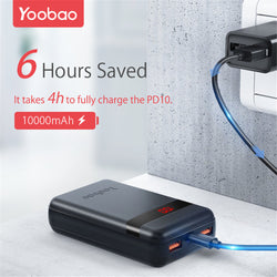 YOOBAO PD10 10000mAh Power Bank Dual USB Output PD 18W Input/Output LED Display Fast Charging For iPhone XS 11Pro Xiaomi MI10 Redmi Note 9S Oneplus 8Pro