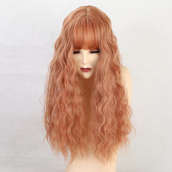 "22 ""Synthetic Hair Women Wigs Long Curly with Bangs Wig Orange"