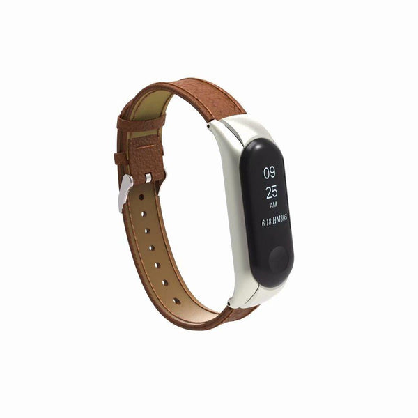 Bakeey Leather Strap with Metal Frame Replacement Wristband for Xiaomi Mi Band 3 Smart Bracelet