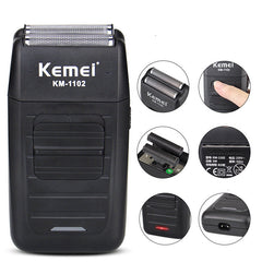 Kemei AC110V-240V KM-1102 Electric Shaver Rechargeable Floating Cordless Shaver Oily Head Hair Trimmer Clipper Reciprocating Double Cutter Head Razor