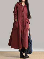 Vintage Women Long Sleeve Plate Buckles Pocket Hooded Maxi Dress - EY Shopping