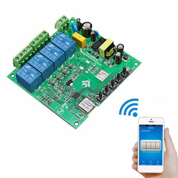 AC 220V 10A Control Smart Switch Point Remote Relay 4 Channel WiFi Module Without Shell