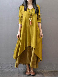 Women Long Sleeve Double Layers Button Asymmetric Vintage Maxi Dress - EY Shopping