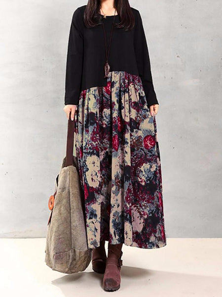 Vintage Women Floral Printed Patchwork Long Sleeve Maxi Dress - EY Shopping