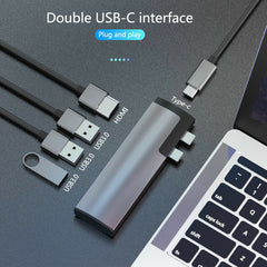 Basix P5 5 in 1 Multifunctional Type c Docking Station with HDMI/USB3.0*3/Type-C Port Computer Adapter USB Splitter Fast Charge For Laptop Macbook