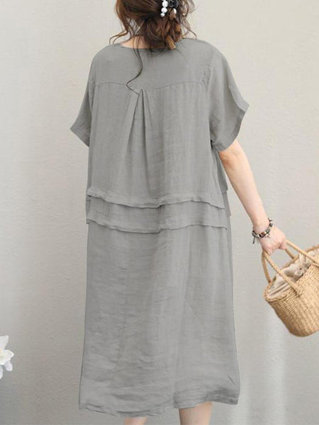 Retro Women Casual Cotton Solid Color Loose Short Sleeve Dress - EY Shopping