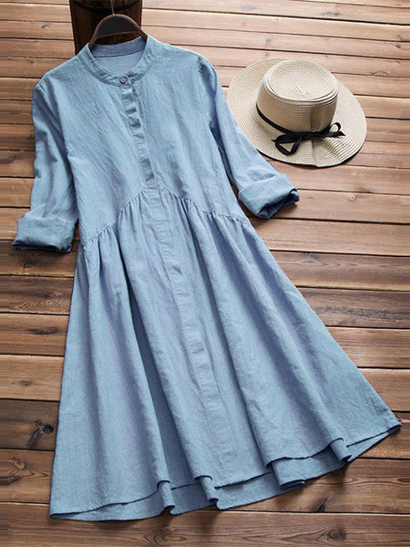 Women Vintage Tunic Retro Ethnic Midi Shirt Dress - EY Shopping