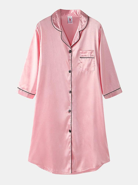 Women Ice Silk Chest Pocket 3/4 Sleeve Shirt Cozy Nightdress With Contrast Binding - EY Shopping