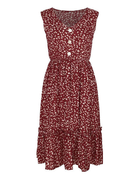 Casual Bohemia Floral Print V-neck Sleeveless Holiday Midi Dress - EY Shopping