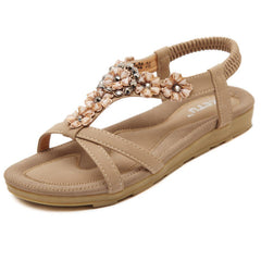 US Size 5-10 Summer Women Flat Sandals Flower Bohemian Casual Outdoor Comfortable Leather Shoes
