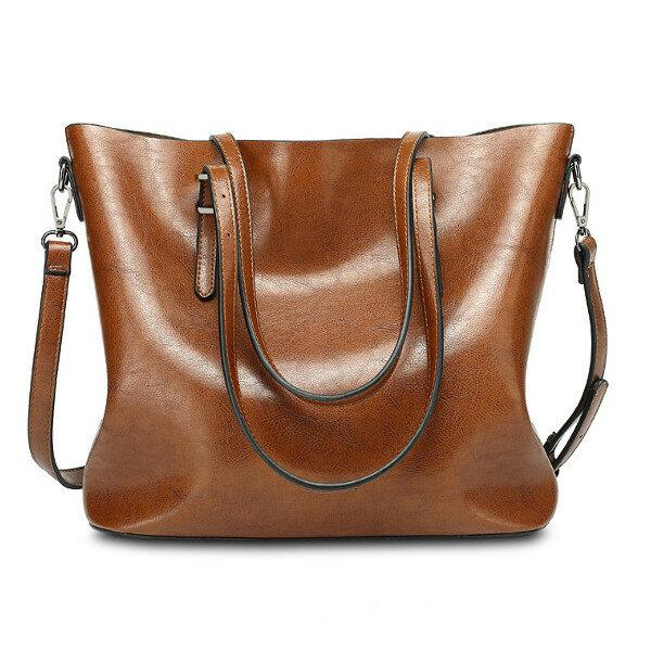 Women Oil Leather Tote Handbag Vintage Shoulder Bag Capacity Big Shopping Tote Crossbody Bag - EY Shopping