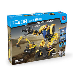 CaDA Rock Man DIY 2 In 1 2.4G Smart RC Robot Block Building Excavator Digger Assembled Robot Toy
