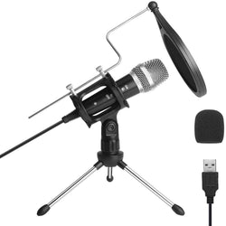 ARCHEER USB Condenser Studio Microphone PC Live Recording Mic for YouTube Streaming Broadcast Gaming for Windows Laptop MAC
