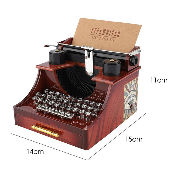 Vintage Typewriter Style Mechanical Music Box Jewelry Storage Box with Drawer Home Decoration Christmas Valentine's Day Gifts