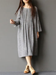 Women Long Sleeve Crew Neck Loose Casual Solid Pleated Dress - EY Shopping