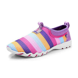 Large Size Women Casual Hollow Out  Breathable Slip On Sneakers - EY Shopping