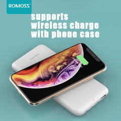 ROMOSS WL1A Power Bank 10000mAh Wireless Charger Power Type-C USB Input USB Output Fast Charging For iPhone XS 11Pro Huawei P30 P40  Pro Xiaomi MI10