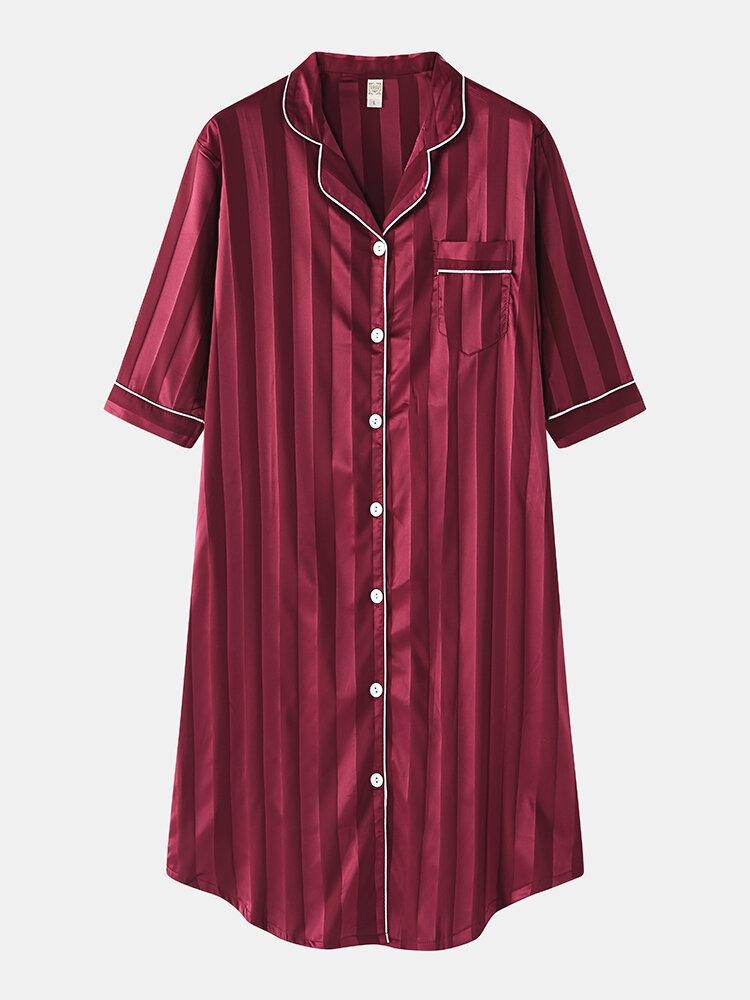 Women Silk Vertical Stripes Chest Pocket Long Sleeve Shirt Nightdress - EY Shopping