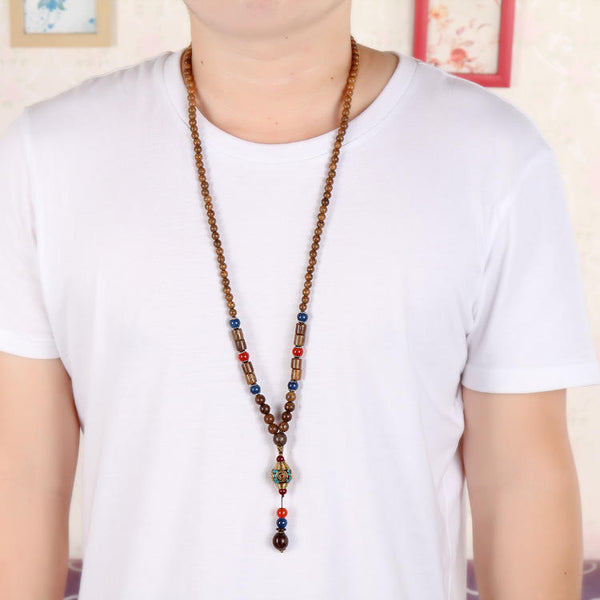 Vintage Ethnic Wood Beads Necklaces Cotton Accessories Nepal Agate Pendant for Men Women