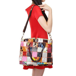 Women Genuine Leather Vintage Tote Handbag Large Capacity Stitching Crossbody Bag - EY Shopping