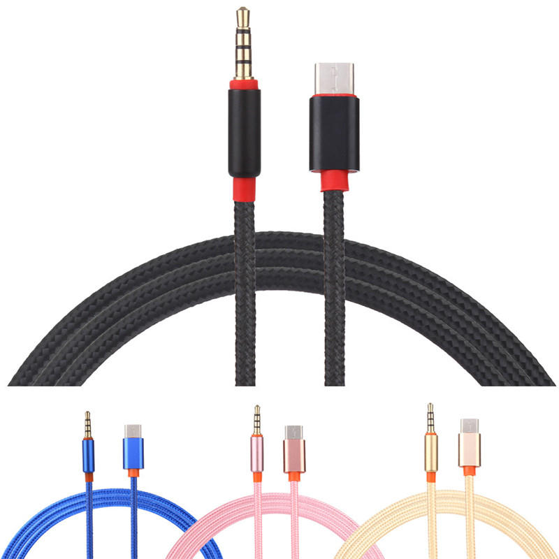 USB Type C Male To 3.5mm Male Audio AUX Adapter Cable For XIaomi 6 Redmi Note 2 Samusng S8 Note